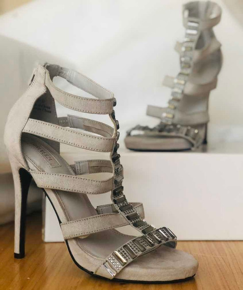 Zapato Alto Aguja Fiesta Con Piedras Y Tiras Importado