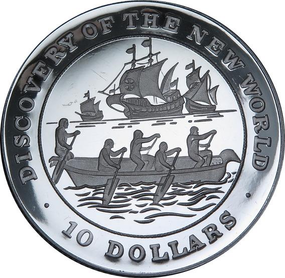 .: Bahamas 10 Dolares - Quinto Centenario Carabelas Plata :.