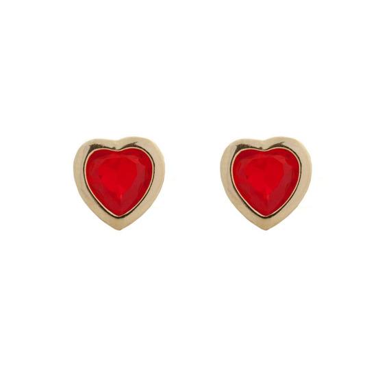 Brinco Coraçãozinho Folheado Em Ouro 18k Vermelho