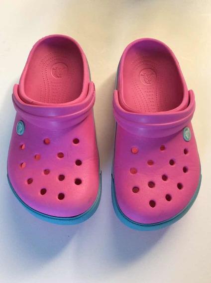 Crocs Crocband Rosa Con Turquesa J 3 Usadas Impecables