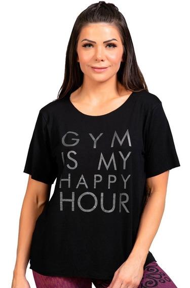 Blusa Preta Feminina Moda Fitness Visco Look Silk Gym