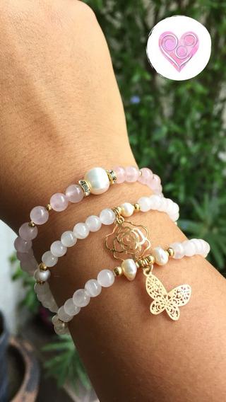 Pulsera Cuarzo Rosa Perlas Dije Oro Laminado Piedra Natural