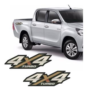 Par De Adesivos Hilux 4x4 Turbo 2016 2017 Emblema Lateral