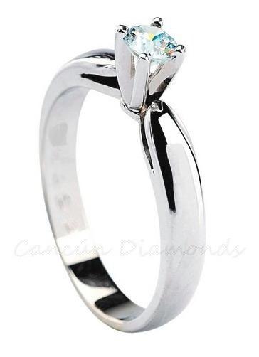 Anillo Compromiso Diamante Natural .15 Ct. Vs-1-color G-h.
