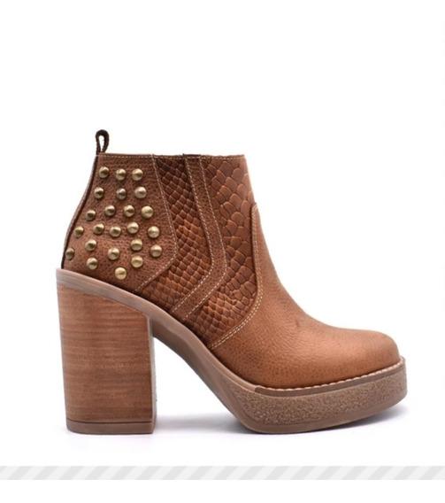 Botas Botitas Zapato Mujer Con Plataforma Y Tachas