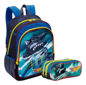 Kit Mochila Infantil Hot Wheels 19x 3d Estojo Sestini