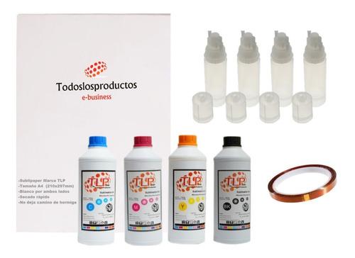 Imagen 1 de 10 de Kit 4 Tintas Premium Tlp 100ml Sublimación Papel A4 Botellas