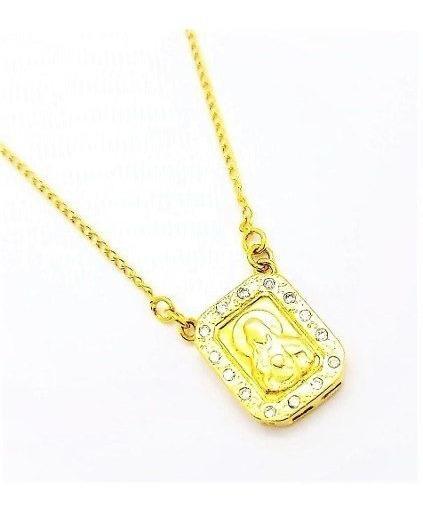 Cordão Escapulário Sagrado Coração Zirconias Banho Ouro 1196