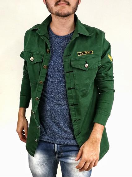 Jaqueta Jeans Slim Fit Militar Us Army Bordada Mascullina