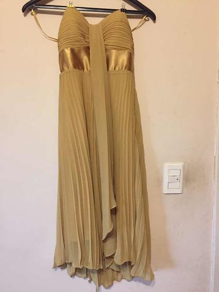 Vestido De Fiesta En Strapless Color Amarillo Dorado Talle S