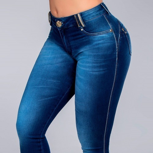 Calça Pitbull Jeans Escuro Com Enchimento Removível E Levanta Bumbum