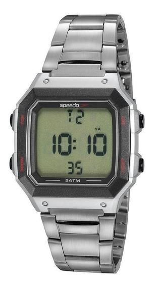 Relógio Masculino Digital Prata Quadrado Detalhes Preto +nf