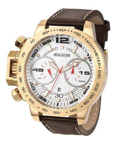 Relógio Magnum Masculino Dourado Ma33666h Grande
