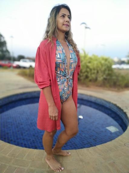Saída De Banho Camisa Vestido Chemise Feminino