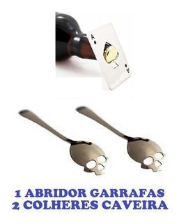 1 Abridor Garrafas As + 2 Colheres De Caveira Frete Grátis