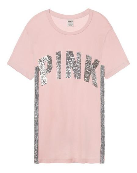 Remera Rosa Velour Lurex Lentejuelas Plateadas M L ( Medidas Sugeridas: El S Un M Y El M Un L) Pink Victoria
