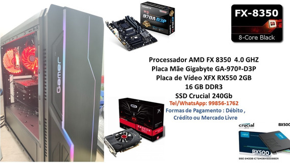 Pc Gamer Fx 8350 16gb Ssd 240gb Rx 550 2gb Monitor 19 !!!