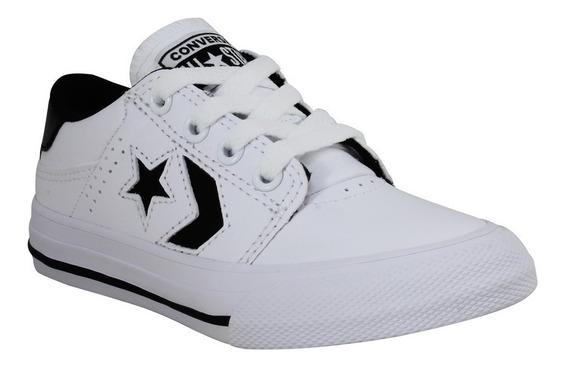 Tenis Converse Blanco Niños Blanco/negro Escolar 651826c