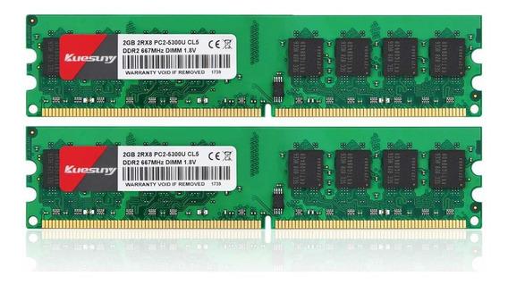 Memoria Ram 4gb Kit (2gbx2) Ddr2 667 Dimm Kuesuny Pc2-5300/pc2-5300u Cl5 240-pin Non-ecc Unbuffered Modules