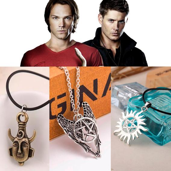 Colar Supernatural Dean Winchester Dupla Face Kit 3 Unidades