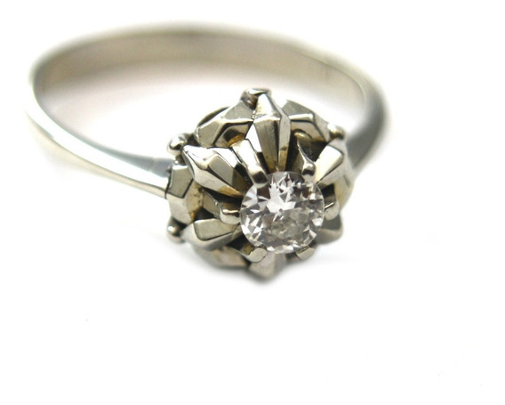 Anel Solitário Com Diamante De 30 Pontos Lapidação Brilhante Em Ouro Branco 18k 750 4,3 Gramas D790