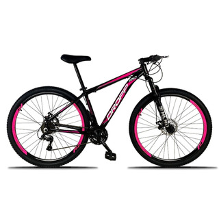 Bicicleta Aro 29 Quadro 17 Freio Disco 21v Preto Rosa Dropp
