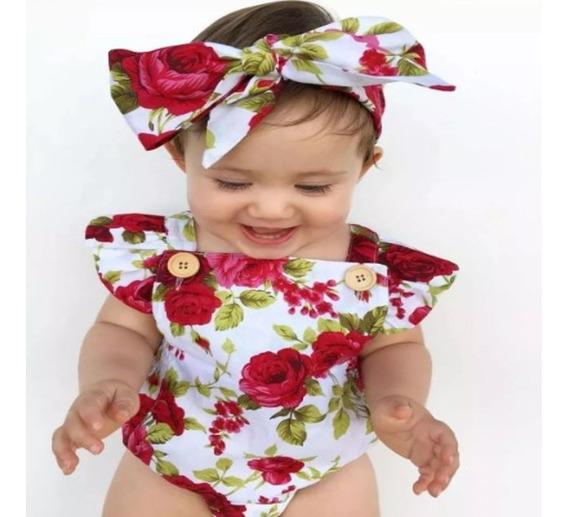 Body Bebe Menina Infantil Kit Body Bebe Com Laço Mesversario