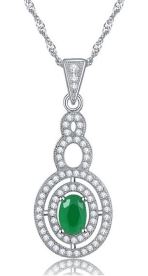 Colar Corrente Feminina Folheada Ouro Cristal Esmeralda C551