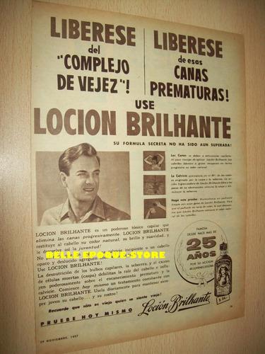 Clipping Antigua Publicidad Locion Brilhante Año 1957