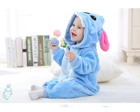 Macacão Bebê Pijama Bichinho Fantasia Stitch Azul C/ Ziper