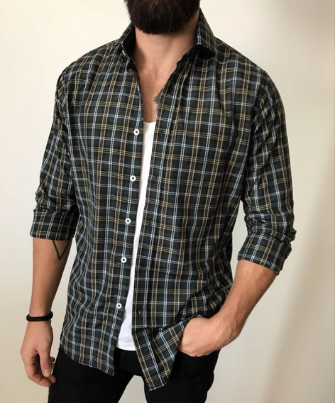 Camisa Cuadrille Escocesa Hombre Manga Larga H0701 H0705