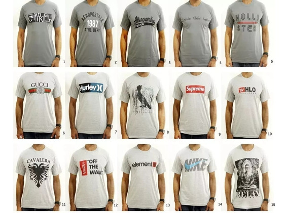 Camiseta Masculina Marcas Kit Com 10. Escolha As Camisetas