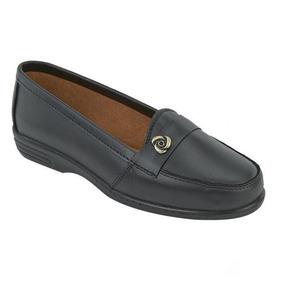 Flats Casuales Confort Para Dama Negro 020655 De Piel Tp19