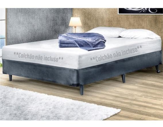 Base Cama Box Casal 140 Cm Suede Cinza Escuro
