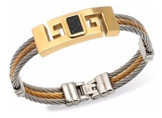Bracelete Pulseira Masculina Aco 316l Banhada A Ouro 18k