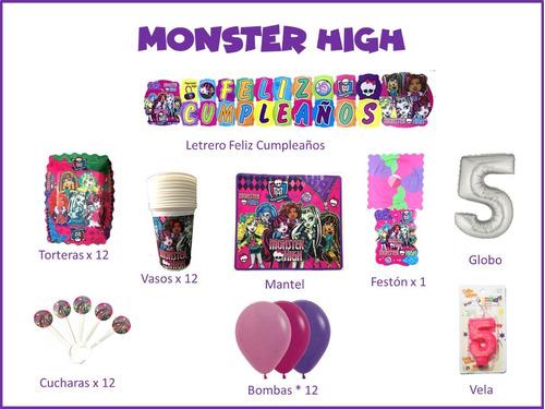 Imagen 1 de 1 de Kit Decoración Celebra Encasa Fiesta Cumpleaños Monster High