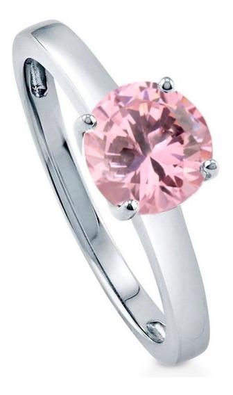Anel De Prata 950 Maciça Com Pedra Rosa Feminino Solitário