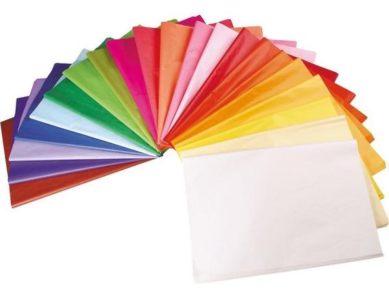 300 Papel Folha De Seda 50x70 Cores Variadas