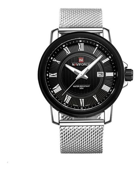 Relógio Masculino Naviforce Pulseira Aço Inoxidável