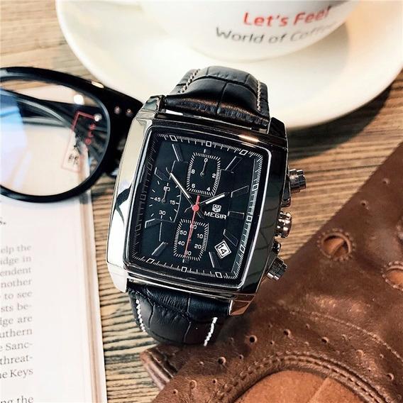 Relógio Megir Quadrado Luxo Cronógrafo A Prova D Água