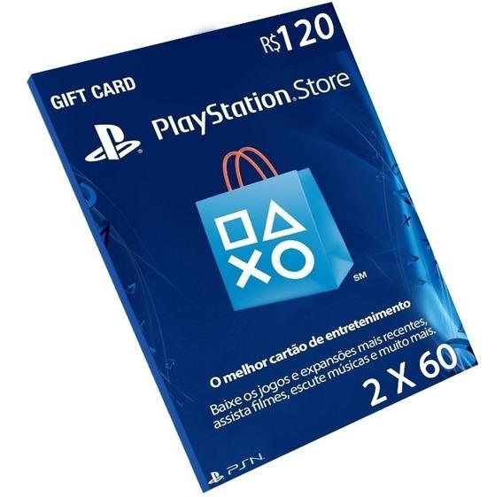 Cartão Playstation R$120 Reais Ps3 Ps4 Psn Plus Br Brasileir