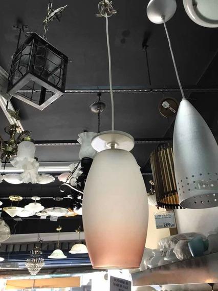 Luminária Teto Pendente Vidro Rosa P/ Bar Sala Quarto - Importado Italia - 12x - Frete