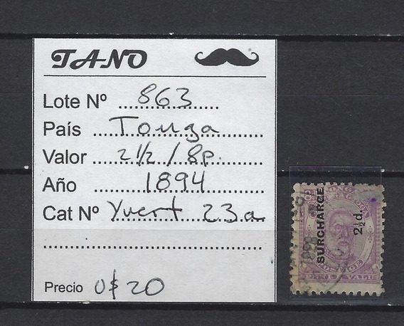 Lote863 Tonga 2,1/2p / 8p Año 1894 Yvert# 23a
