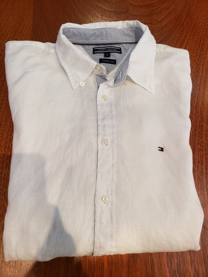 Camisa De Lino Tommy Hilfiger Talle Xl Blanca Impecable
