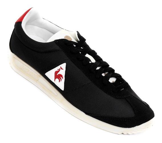 Tenis Le Coq Sportif Quartz Vintage Negro Y Blanco Logo Rojo