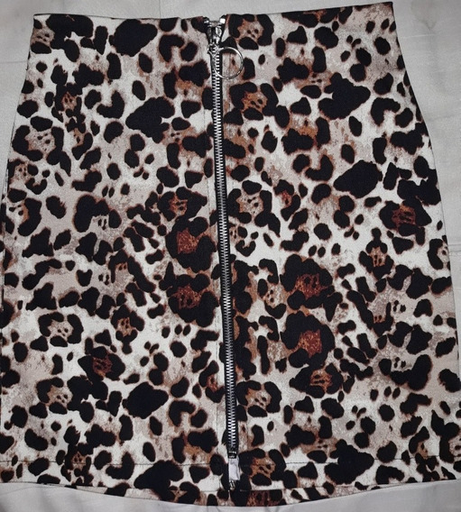 Pollera Mini Falda Cargo Animal Print Leopardo Batik