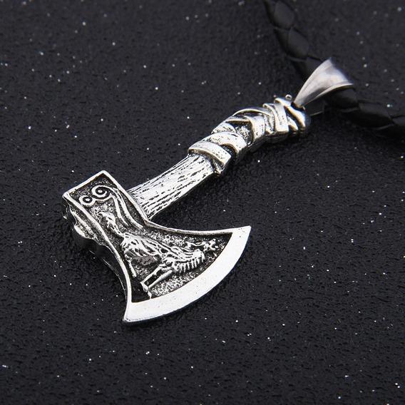 Dije Collar Vikingo Hacha Lobo Escandinavo Celta Rock Metal