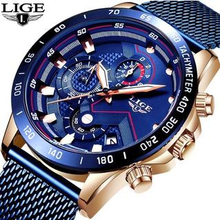 Reloj Hombre Lujo Cuarzo Cronografo Acero Inoxidable