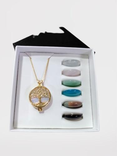 Colar Relicário Árvore Da Vida Ouro Opalina + 6 Pedras
