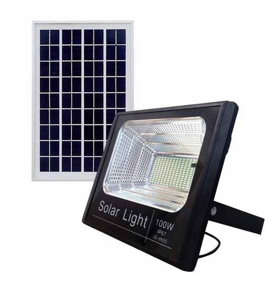 Refletor Holofote Solar Led 100w Real Placa Frete Gratis